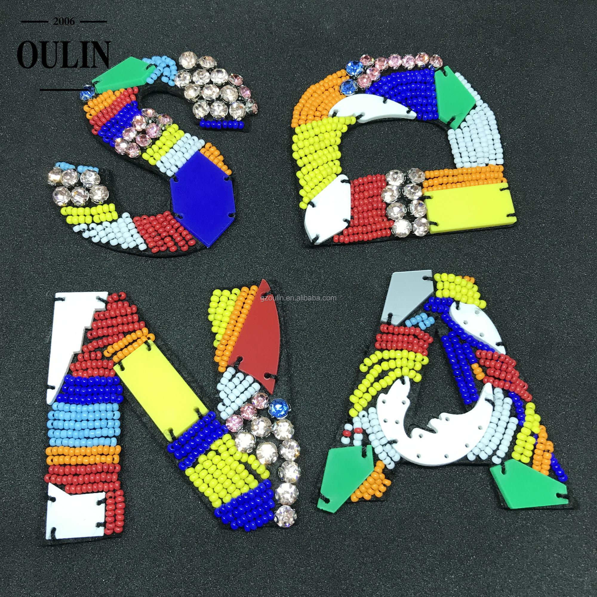 Handmade beads letters colorful letters beaded trimmings with rhinestones sewing on clothes letters decoration