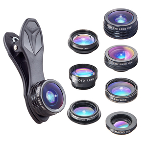 Apexel premium free shipping camera lens wholesale clip optical ultra wide angle fisheye telescope 7in1 lens kit for all mobile