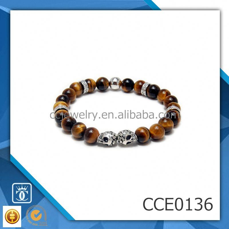 CC Jewelry Ali Express top selling products 2017 stretch Tiger eye Stone Bracelet with 2 skull beads