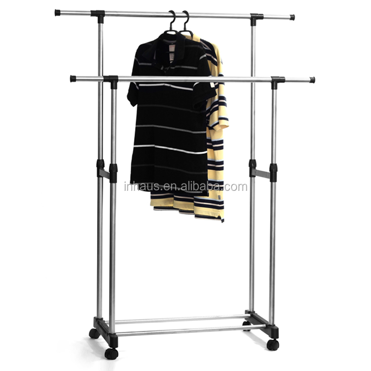 Indoor Outdoor Stainless Steel Portable Clothes Rack Adjustable Vertical  Rotating Hanger Clothes Drying Rack