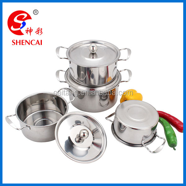 4PCS Stainless Steel Cookware set with Stainless Steel Lid