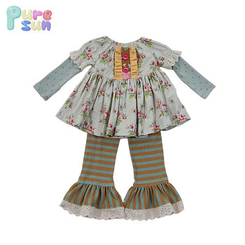 2018 beautiful fall and winter baby dress boutique children outfits girls clothing sets
