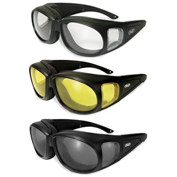 6adbec64e692 Get Quotations · Three (3) Pairs Motorcycle Safety Sunglasses Fits Over Rx  Glasses Smoke
