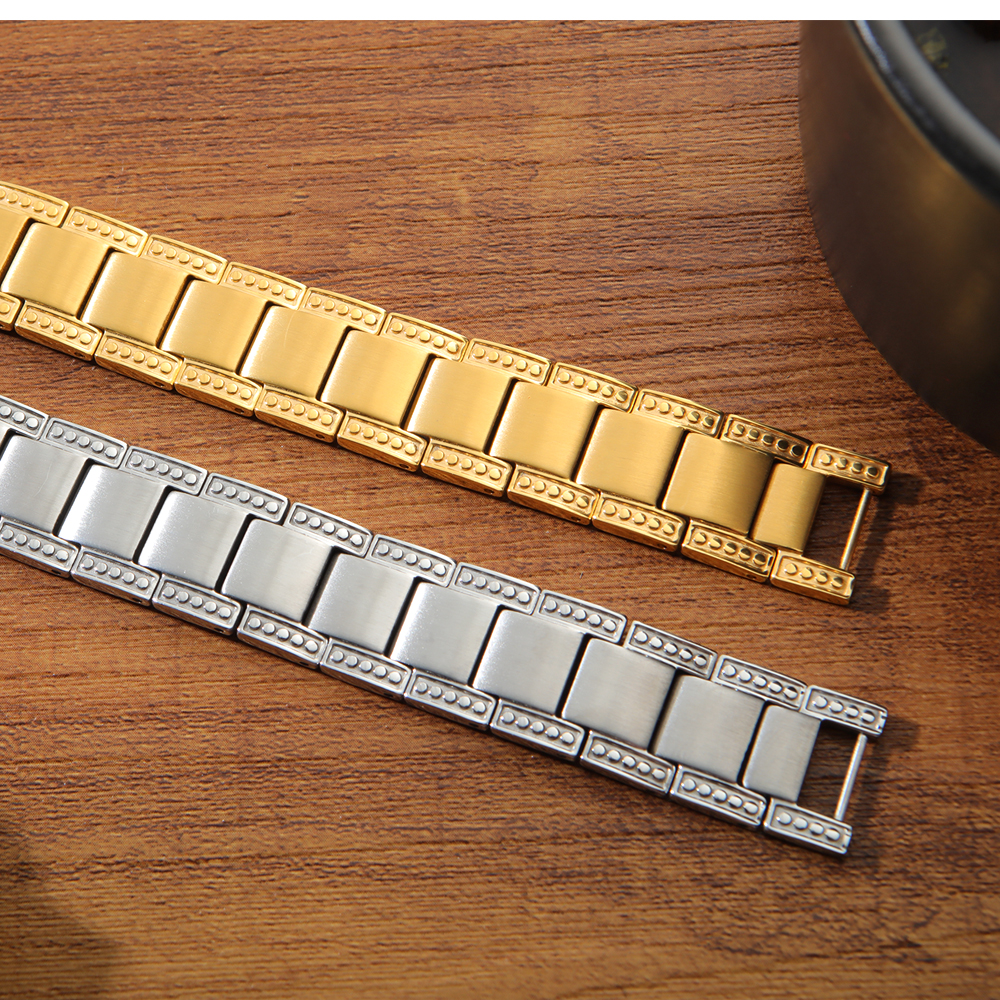 Custom Gold Plated Stainless Steel Ion Magnetic Energy Health 2 Tone Bracelet