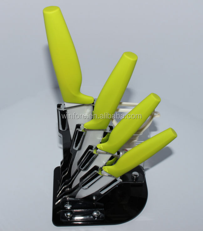 5pcs rubber coating PP handle Ceramic kitchen knife set with acrylic block