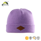 promotion custom leather patch panda woven neon infant winter hat beanie baby