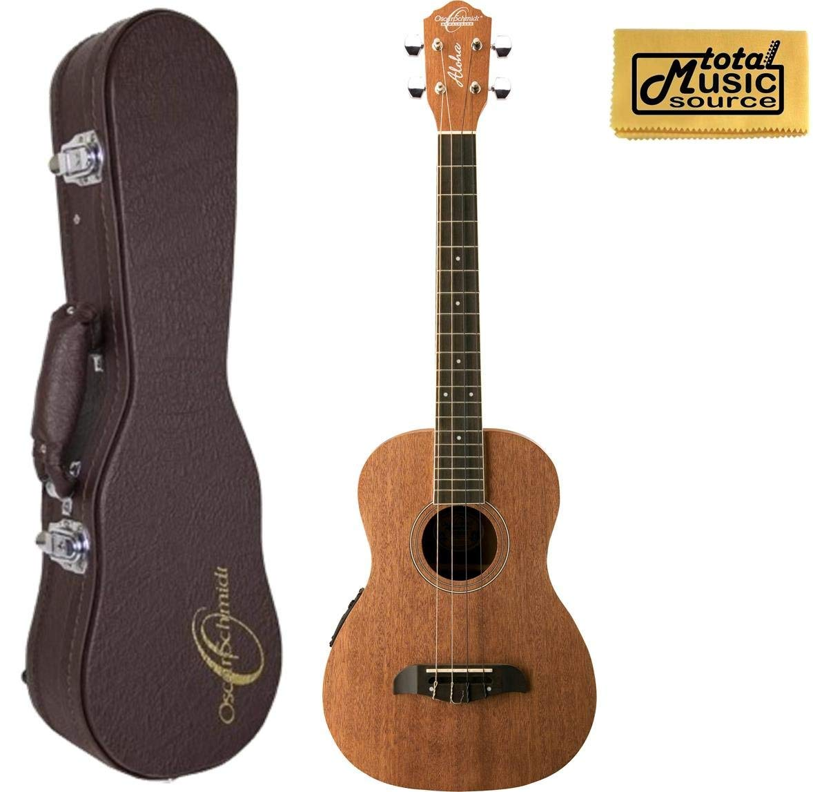 Oscar Schmidt OU52E Acoustic/Electric Baritone Ukulele w/ EQ, Hard Case & PC, OU52E UC5