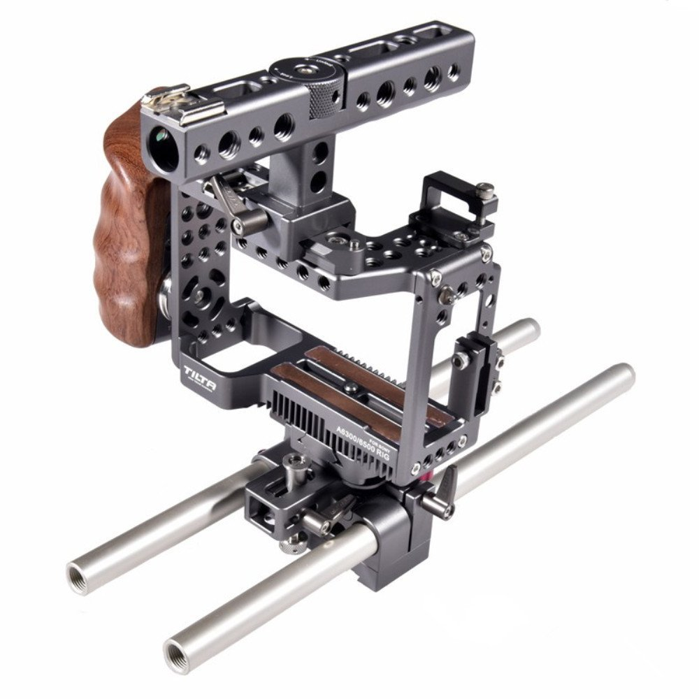 Tilta ES-T27-A TILTA for sony A6300 A6500 Rig + Baseplate + Wooden Handle For SONY A6300 A6500 series camera Film shooting (Cage Rig + Baseplate + Handle)