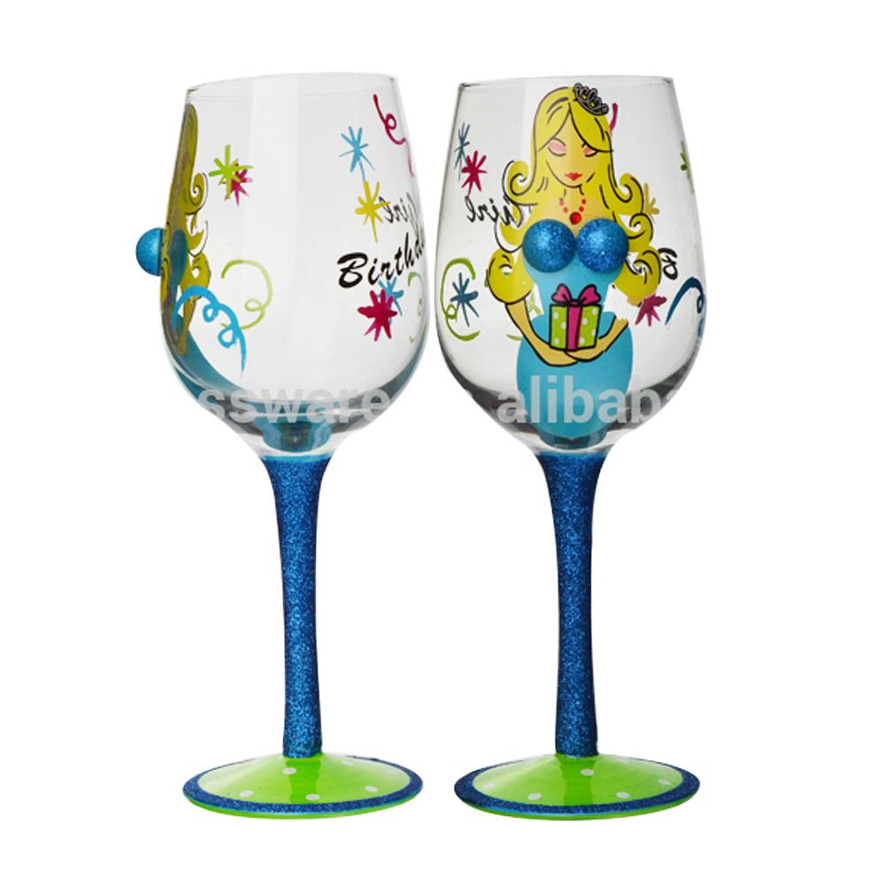 Custom Hand Painted Happy Birthday Girl Design Stem Wine Glass With Gift Box