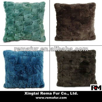 Hot Selling 40% Real Rex Rabbit Fur Pillow Case For Sofa Bed Fascinating Rabbit Fur Pillow Cover