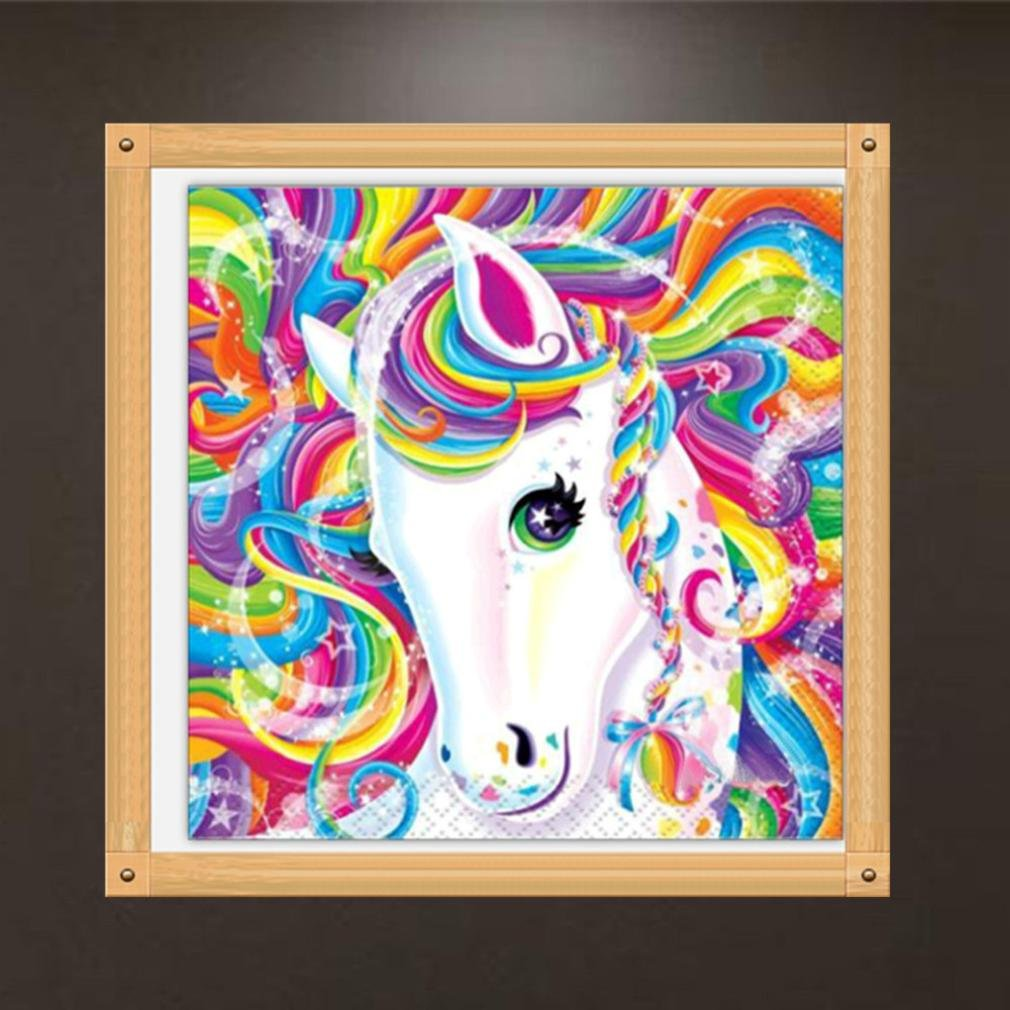 5D DIY Diamond Painting Kit for Adults - Franterd Diamond Cross Stitch By Number -Crystals Embroidery with Diamonds for Home Wall Decor - Franterd Lovely Animal Full Drill White Horse