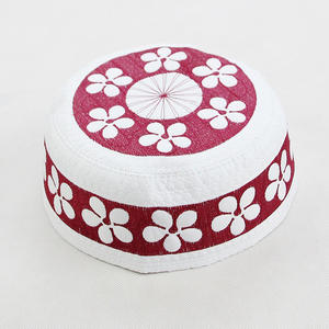 Embroidery Cotton Inflorescence Customized Men Islamic Prayer Caps