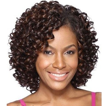 AIshili high quality 12inch dark brown kinky Afro deep curly hair synthetic wig for black woman