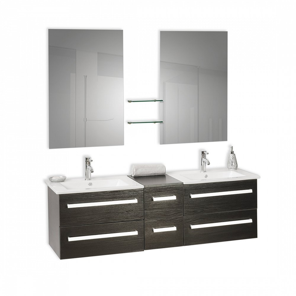 Get Quotations Cly Floating Bathroom Vanity With Double Sinkirrors Madrid Black