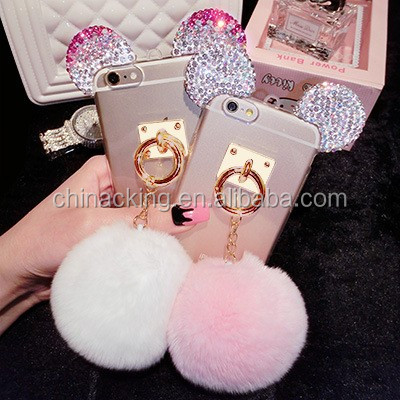 For iPhone 7 5s 6 6s plus samsung s6/s7 s6edge/s7edge Note5 Luxury Bling Rhinestone Mickey Ear Fur Ball Phone Case Cover