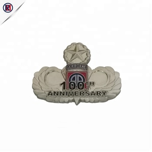 Manufacturer custom engraved zinc alloy die cast five star military silver state shaped lapel pins