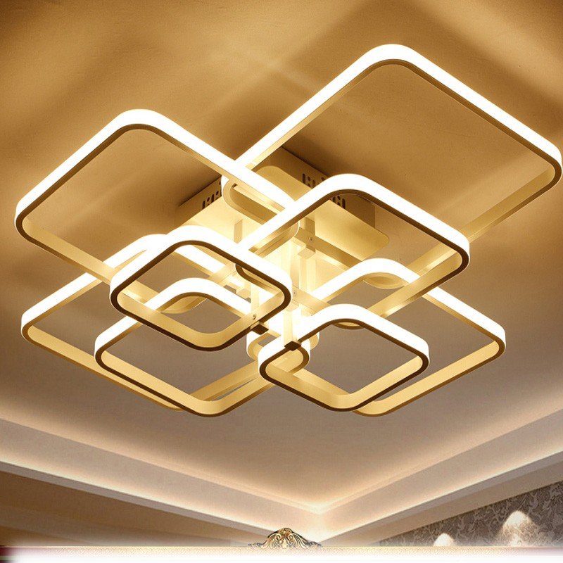 Rectangular led modern warm bedroom lights remote dimming study lamps living room LED ceiling lighting lamp