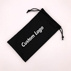 90 X 180 mm Sunglasses Pouch Custom Logo Black Microfiber Glasses Bag