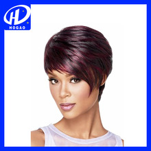 Women short hair purple color cheap full lace wigs
