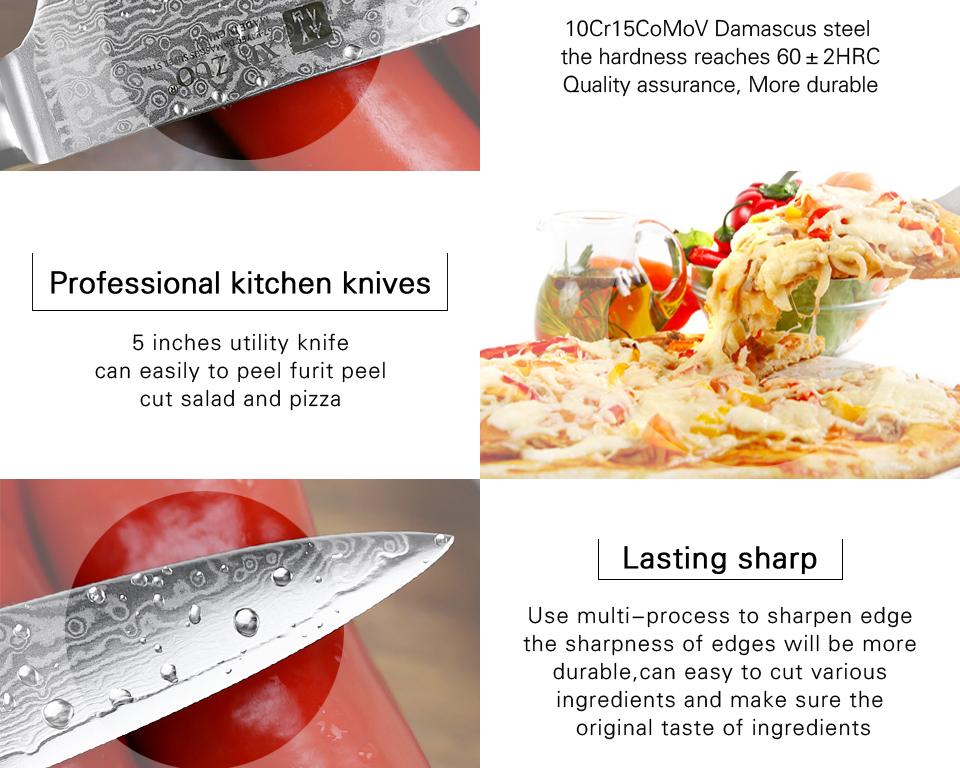 de aço damasco japonês faca de cozinha