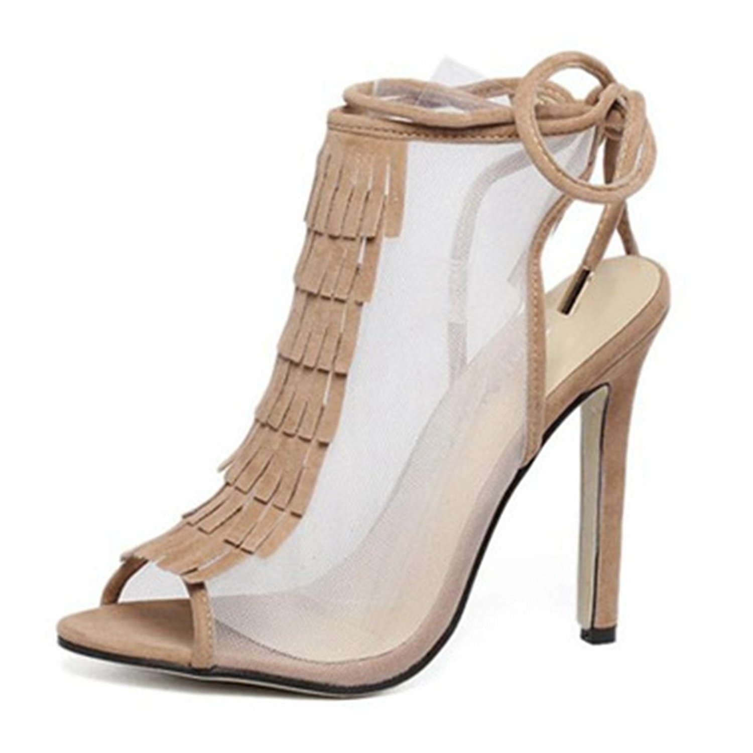 GIY Women's Sexy Fringe Cutout Ankle Strap Sandals Peep Toe Lace up Net Anti-Slip Stiletto High Heel Pump