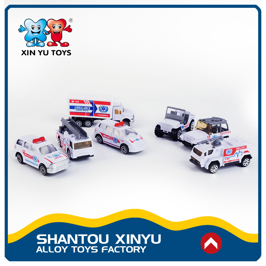 Mini ambulance vehicles play set 1:87 diecast exotic alloy car model for little boys