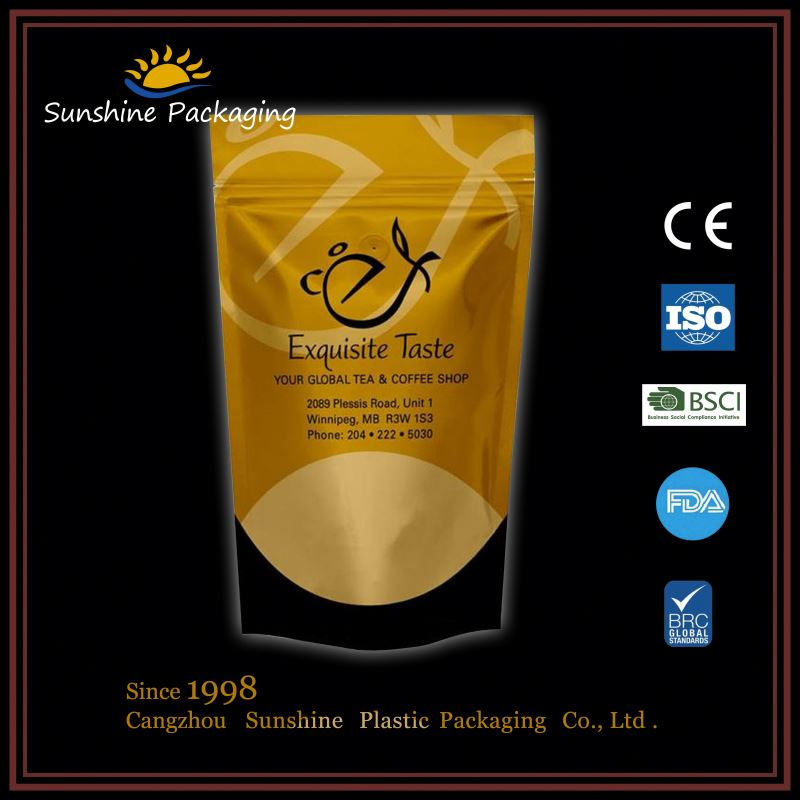 Leakproof plastic slider kraft foil lined doypack for ground coffee <strong>packing</strong> for mailing service