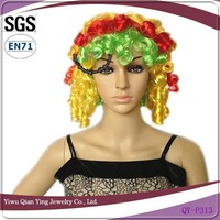 cheap crazy multi color curly halloween party wigs