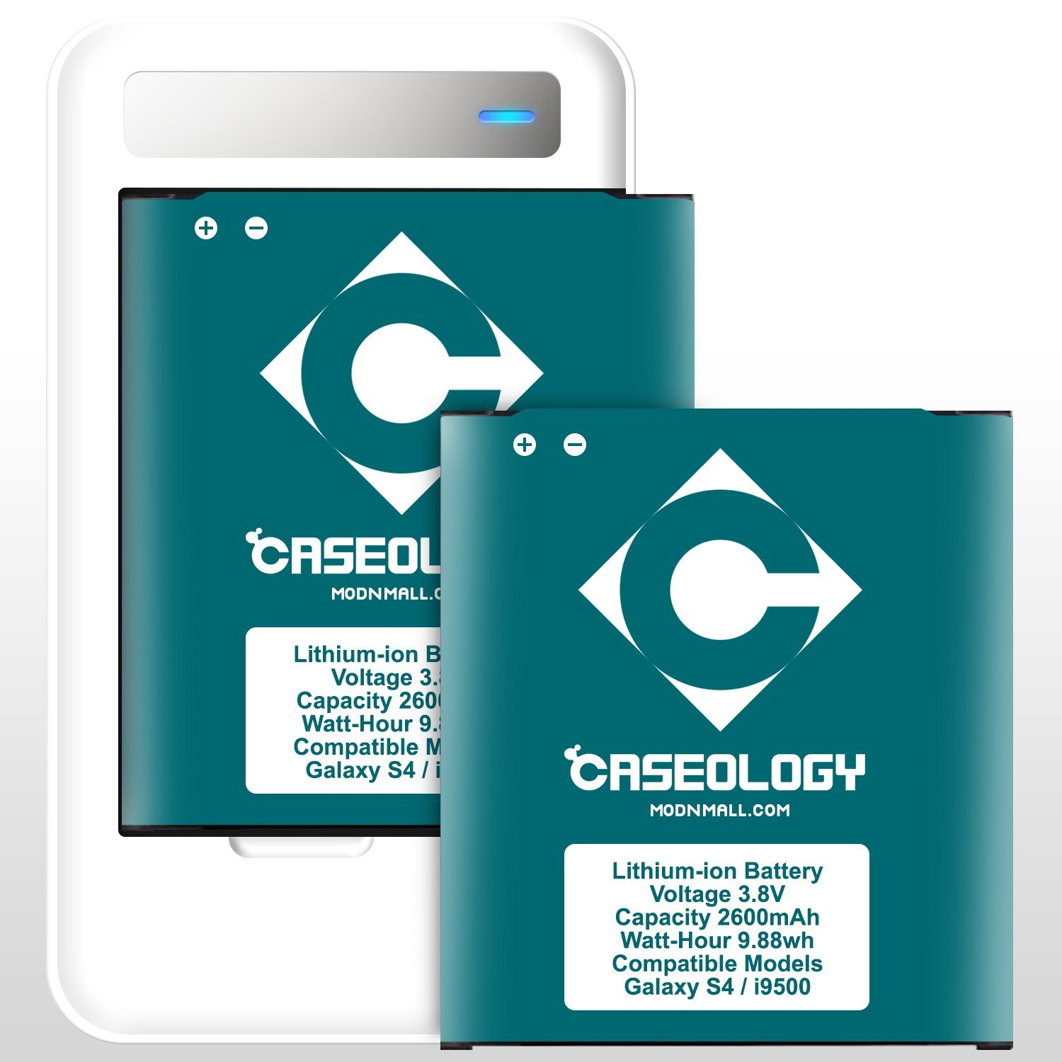 Galaxy S4 Battery, Caseology [2 Battery + Charger] Samsung Galaxy S4 Battery [Long-Lasting] 2 X 2600 mAh Li-ion Spare Battery Replacement Combo with Portable USB Port Travel Wall Charger Samsung Galaxy S4 Battery (Non-NFC) + [12-Month Warranty] (For Samsung Galaxy S4 Verizon, AT&T Sprint, T-mobile,