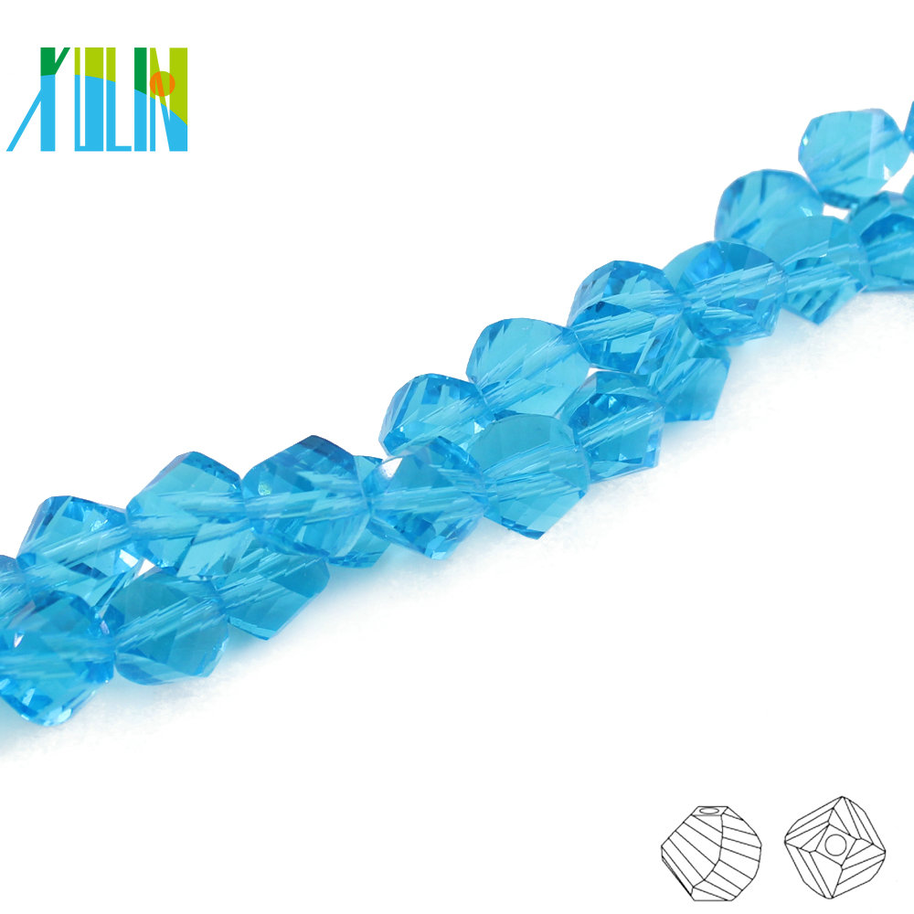 A5020-5# Beat Quality Aqua Blue Faceted Crystal 10mm crystal beads wholesale crystal helix bracelet twisted glass beads for DIY