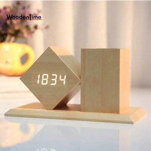 Fashion Multi-functional Student Gift Wood Desk LED Creative Voice Alarm Clock Wooden Pen Holder for Promotional Gift