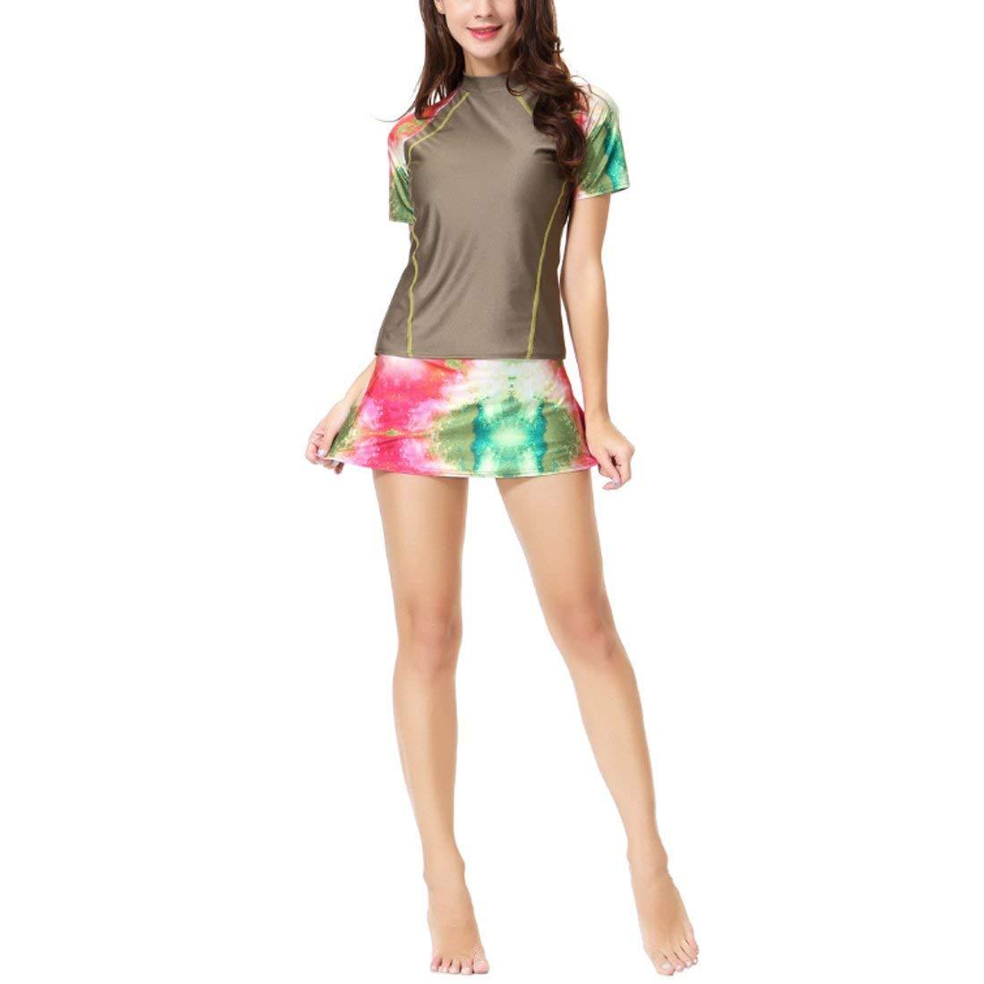 8d3c4a407b5e4 Get Quotations · Fulision Muslim Swimwear Female Summer Short-Sleeved  Splicing Zipper Swimwear