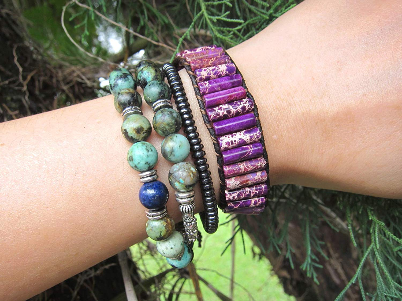 Purple Dream Jasper Cuff Wrap Bracelet | Purple Gemstone Leather Bracelet | Natural Purple Jasper Stone Bracelet | Gemstone Bracelet