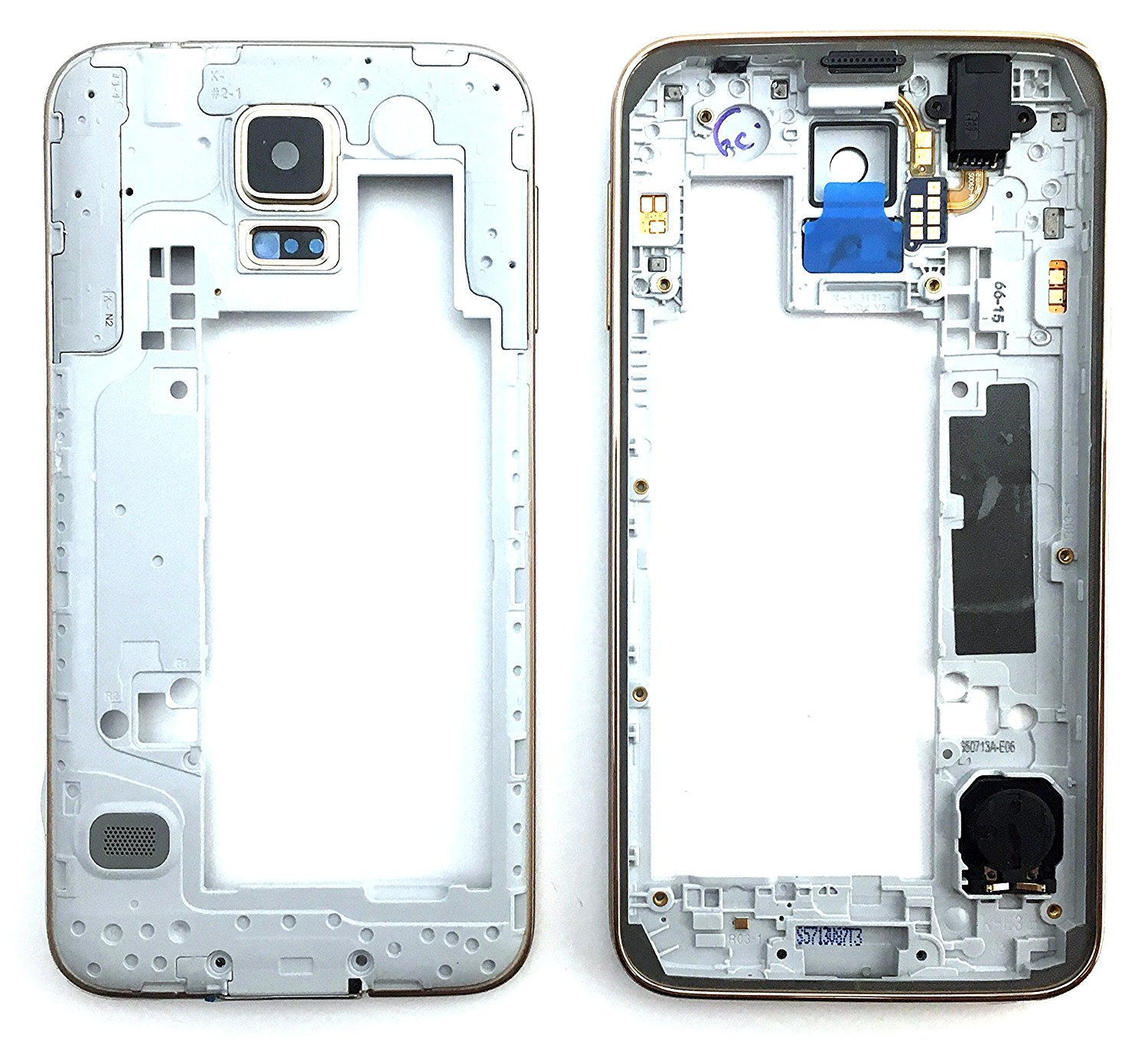 9557284c7d11 Get Quotations · SBOS Gold Housing Frame Bezel Camera Panel Replacement  Part Audio Jack Speaker Samsung Galaxy S5 G900f