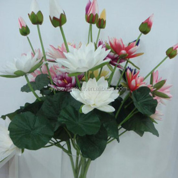 Wholesale Decoration 3 Head Water Lily Fake Flowers Artificial Lotus
