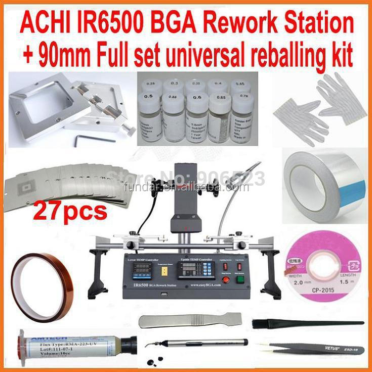 Original ACHI IR6500 DARK IR BGA rework station + 27pcs 90mm universal bga stencils diagonal reball station + 18pcs free gift