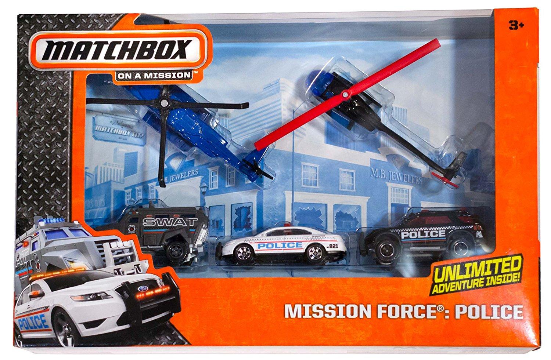 Police Mission Force Die-Cast Vehicle Pack (Sikorsky S-92/Robinson R44/Ford Explorer/Ford Police Interceptor/Swat Truck): Matchbox On A Mission Pack