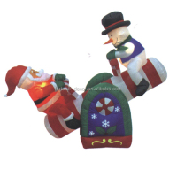 150cm/5ft inflatable santa claus and snowman sit on a colorful seesaw for Christmas decoration