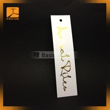 High end custom black card paper hang tag/gold foil center folded swing tag