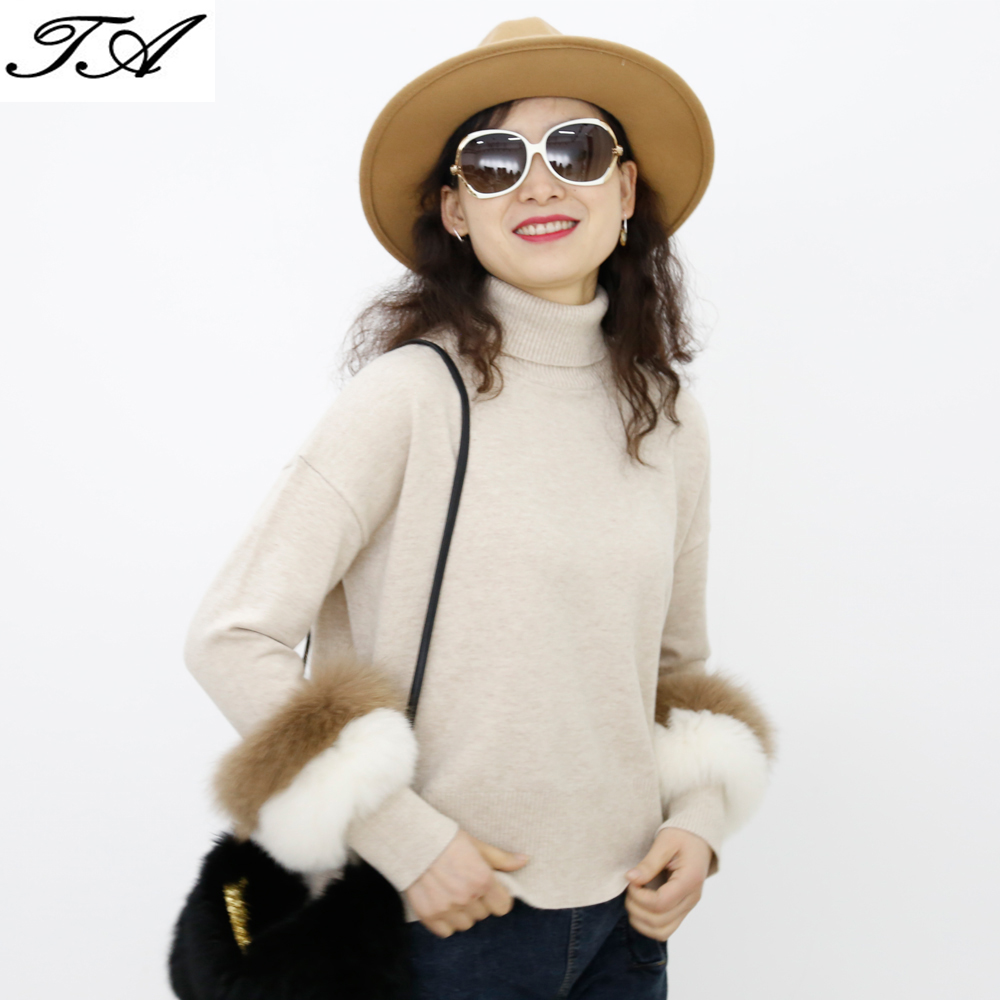 Fashion Solid Color Acrylic Custom Knit Cashmere Sweater Luxury Ladies Sweater Design Fur Sleeves Fancy Sweater