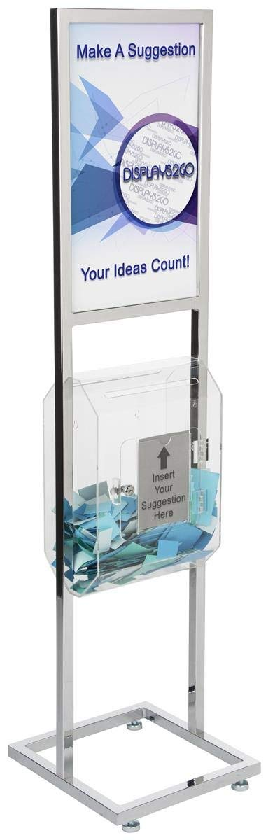 Displays2go Sign Stand with Ballot Box, Double Sided, Steel Frame, Acrylic Compartment – Chrome, Clear Finishes (EMP1422BLT)