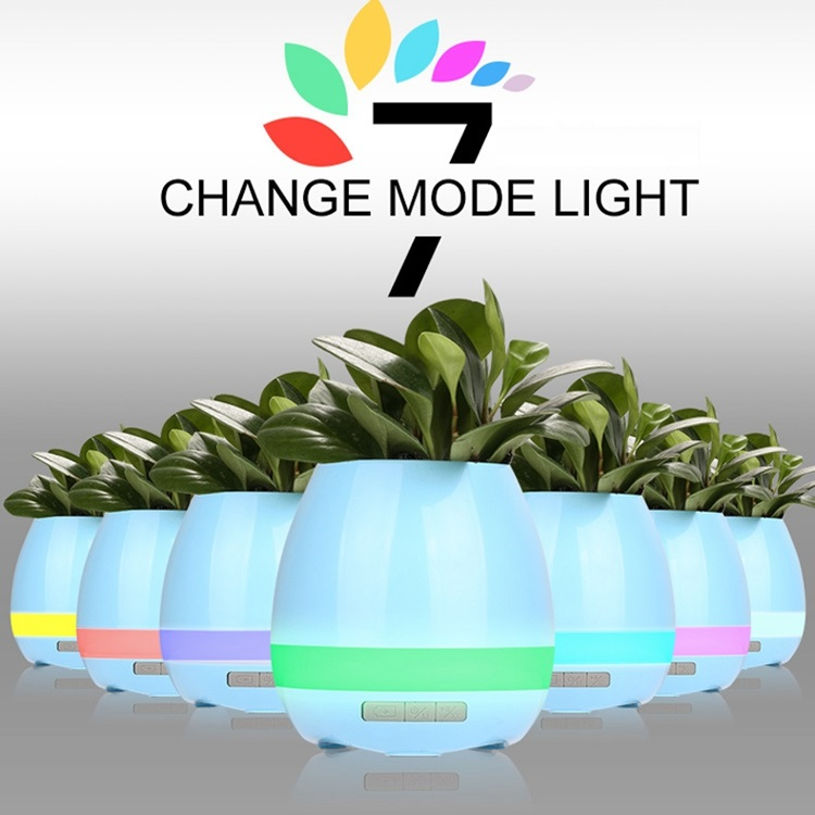 Bluetooth Speaker LED Night Light Music Flower Pot Planter With Wireless Bluetooth