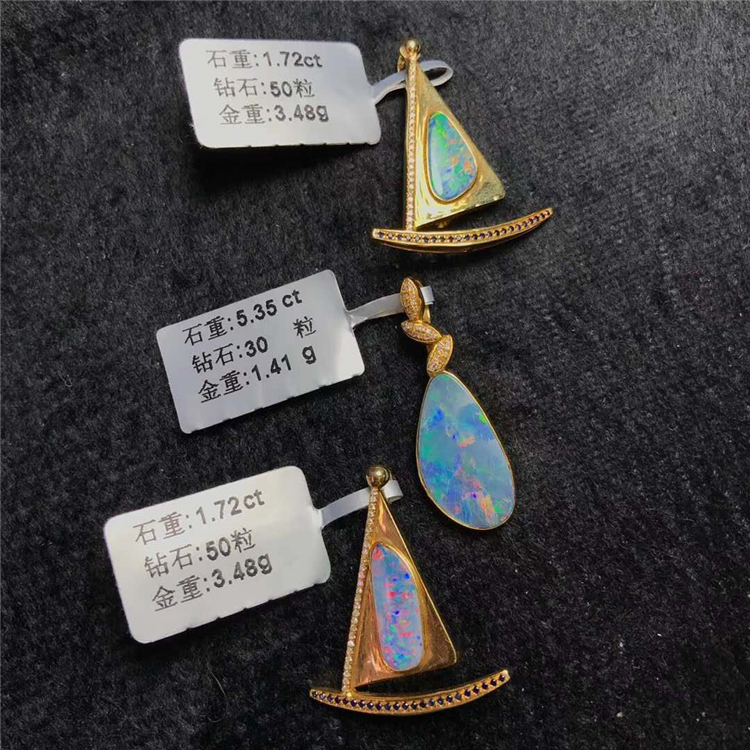 Cremation Jewelry 18k gold  South Africa real diamond natural opal pendant for women double heart pendant