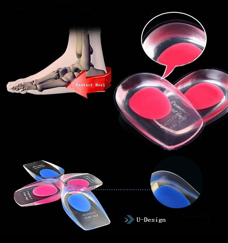 Gel shock absorption pain relief protector cushion silicone height increase insole