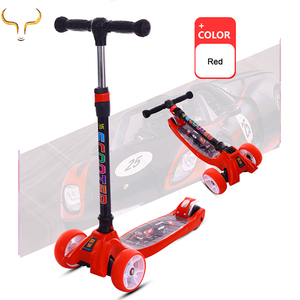 Hot sale 4 PU flashing wheel baby scooter outdoor kids kick foot scooter