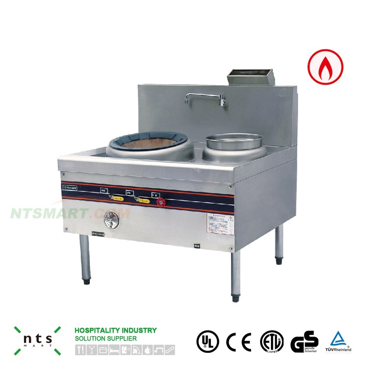 stainless steel gas stove chinese cooking range with blower