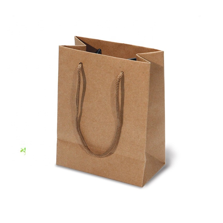 Eco friendly custom logo Kraftpaper bag Shenzhen recycled Kraft hemp paper party bag for food with handle