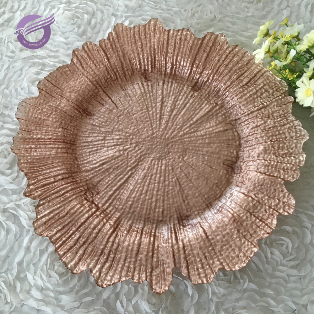 hot design snowflake decorative copper wave dinner round glass charger plate