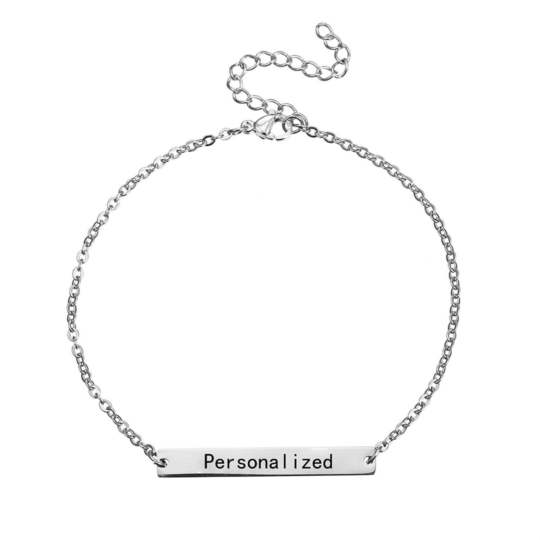 ptk12 Custom Engraved Name Personalized Initial Bracelet With Zirconia Bracelet For Women