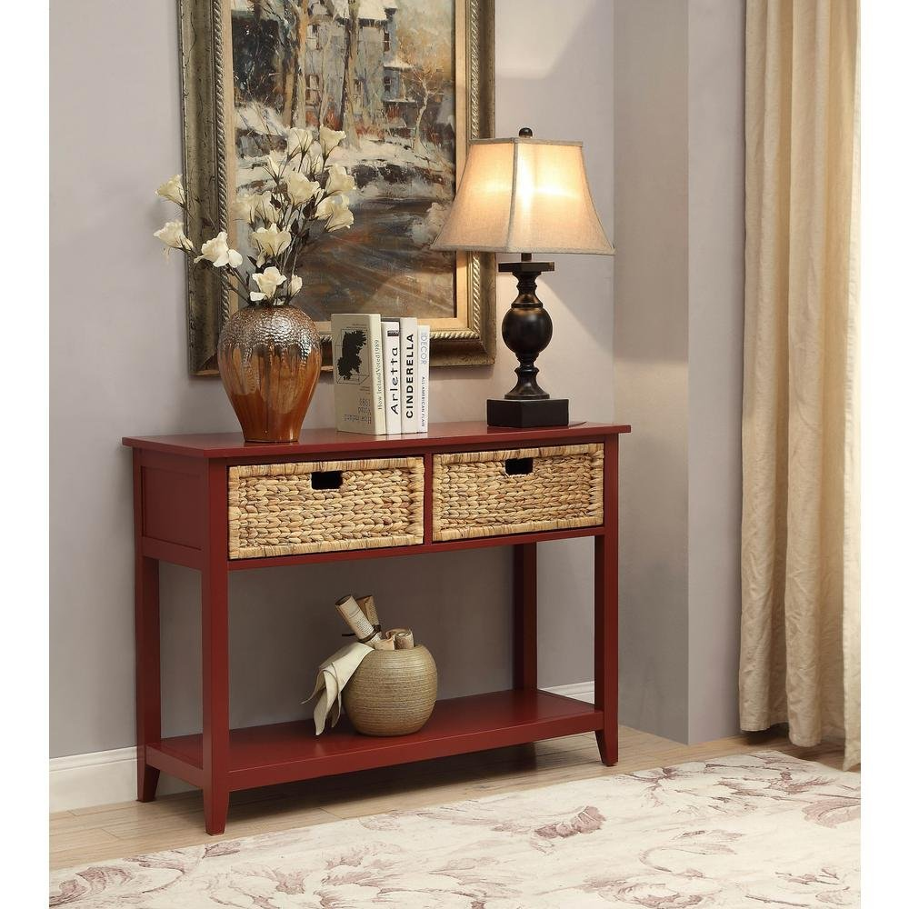 Major-Q Console Table with 2 Drawers and Open Storage for Dining / Kitchen / Living Room, Rectangular, Wood Rustic and Burgundy Finish, 44 x 16 x 28